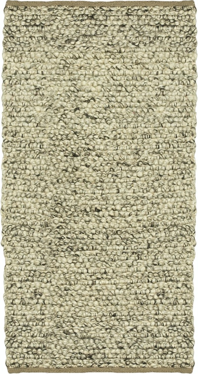 Delilah Hand Woven Rug - Small100% New Zealand Felted Wool Rug (1.6m by 0.8m) - Light Grey - Image 1