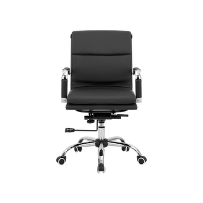 Eames Soft Pad Mid Back Office Chair - Black (PU) - Image 1