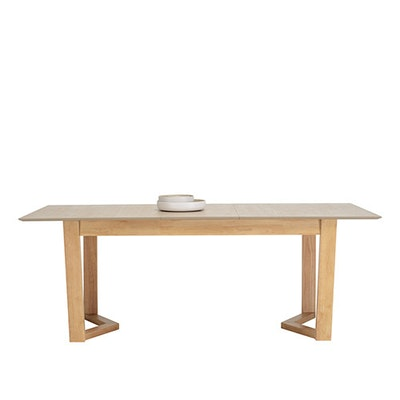 Meera Extendable Dining Table 1.6m - Natural, Taupe Grey - Image 2