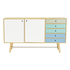 Axtell Sideboard - Oak Veneer, Multicolour Lacquered - Image 1