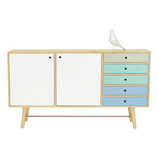 Axtell Sideboard - Oak Veneer, Multicolour Lacquered - Image 2