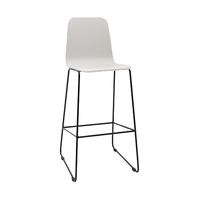 Eva High Back Bar Chair - White Lacquered, Matt Black - Image 1