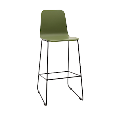 Eva High Back Bar Chair - Green Lacquered, Matt Black - Image 1