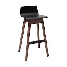Eva Low Back Bar Chair - Black Ash Veneer, Walnut (Set of 2) - Image 1