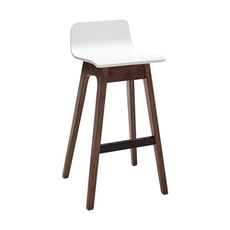 Eva Low Back Bar Chair - White Lacquered, Walnut (Set of 2) - Image 1