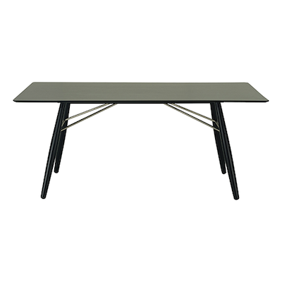 Farrell Dining Table 1.8m - Black Ash Veneer, Black - Image 1