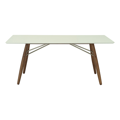 Farrell Dining Table 1.8m - White Lacquered, Walnut - Image 1