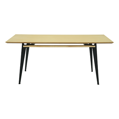 Graham Dining Table 2m - Oak Veneer, Matt Black - Image 1