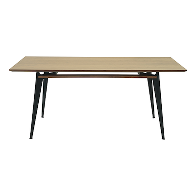 Graham Dining Table 2m - Walnut Veneer, Matt Black - Image 1