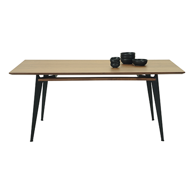 Graham Dining Table 2m - Walnut Veneer, Matt Black - Image 2