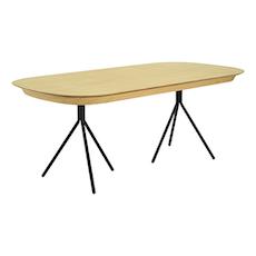 Otis Fix Top 8 Seater Table - Oak Veneer, Matt Black - Image 1