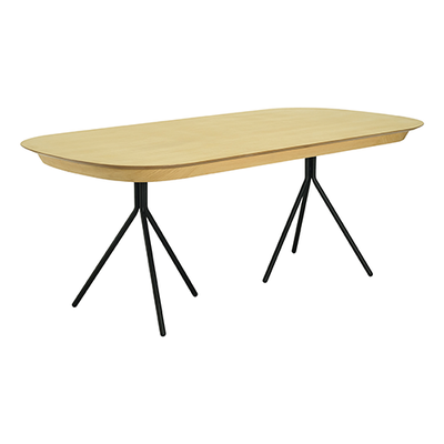 Otis Dining Table 2m - Oak Veneer, Matt Black - Image 1