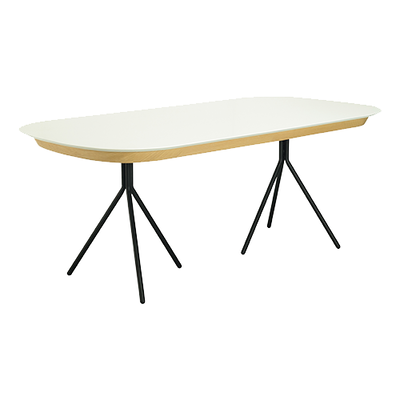 Otis Dining Table 2m - White Lacquered, Matt Black - Image 1
