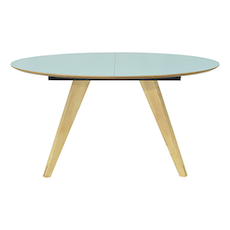 Ryder Oval 8 Seater Extandable Table - Dust Blue Lacquered, Oak - Image 1