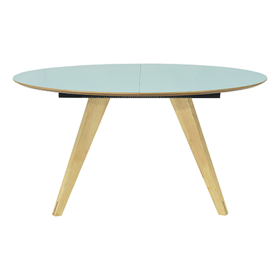 Ryder Extendable Dining Table 1.5m - Dust Blue Lacquered, Oak - Image 1