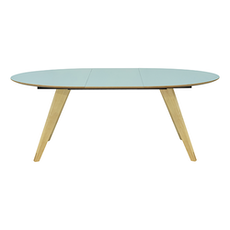 Ryder Oval 8 Seater Extandable Table - Dust Blue Lacquered, Oak - Image 2