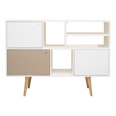Locke Tall Sideboard - Natural, White, Taupe Grey - Image 1