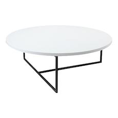 Turner Round Coffee Table - White, Matt Black - Image 1