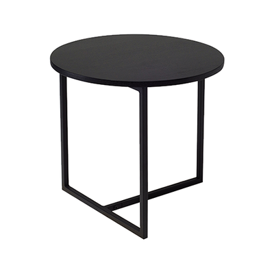 Felicity Round Side Table - Black Ash, Matt Black - Image 1