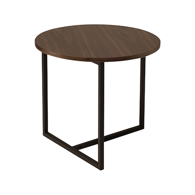 Felicity Round Side Table - Walnut, Matt Black - Image 1