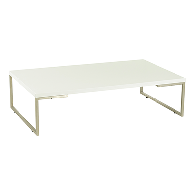 Myron Rectangular Coffee Table - White, Matt Silver - Image 1