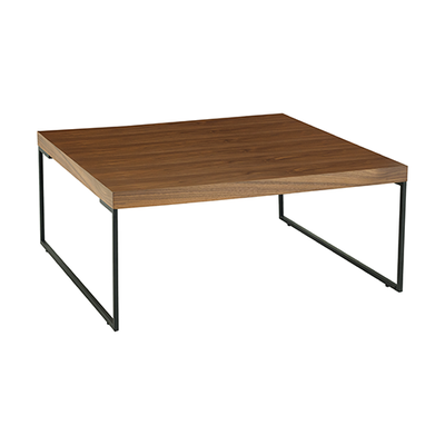 Micah Square Coffee Table - Walnut, Matt Black - Image 1
