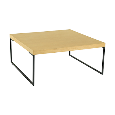 Myron Square Coffee Table - Oak, Matt Black - Image 1