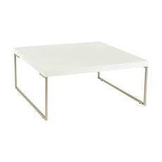 Myron Square Coffee Table - White, Matt Silver - Image 1