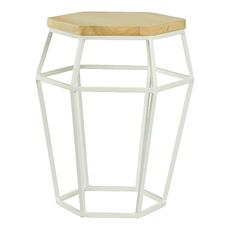 Apollo Stool/Occasional Table - Matt White, Oak - Image 1