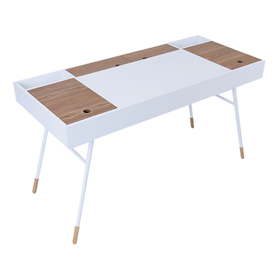 Norse Study Table - White, Oak - Image 1