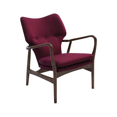 Stacy Lounge Chair - Ruby, Walnut - Image 1