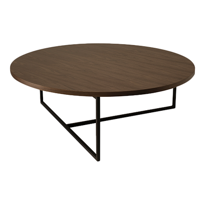 Felicity Round Coffee Table - Walnut, Matt Black - Image 1