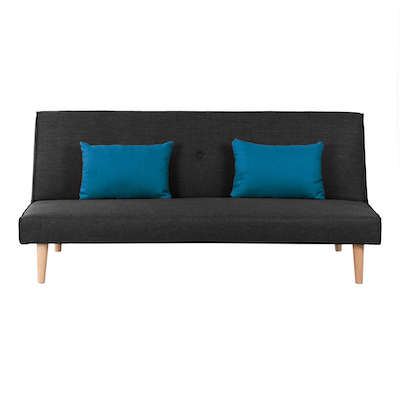 Andre Sofa Bed - Anthracite with Blue Cushions - Image 2