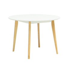 Harold Round Dining Table - Natural, White - Image 1