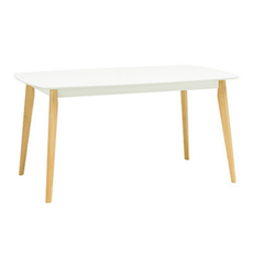 Harold 6 Seater Dining Table - Natural, White - Image 1
