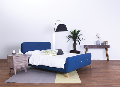 Marston Queen Bed - Midnight Blue (Fabric) - Image 2