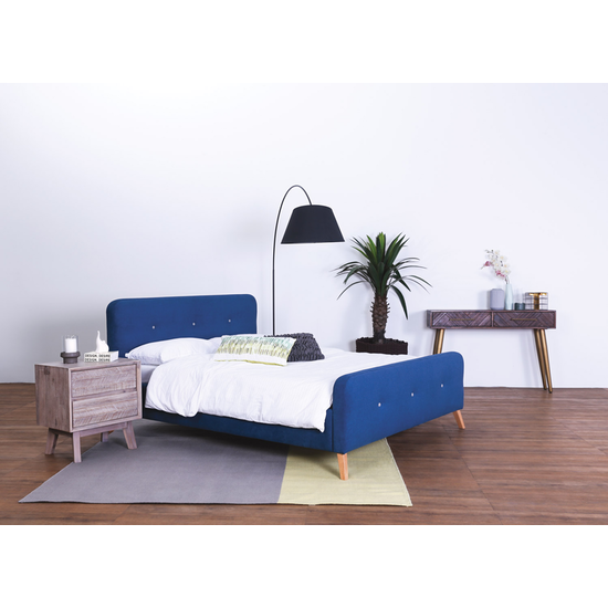 Malmo - Marston Queen Bed - Midnight Blue (Fabric)