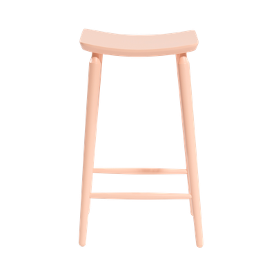 Lester Bar Stool - Nude Pink Lacquered - Image 2