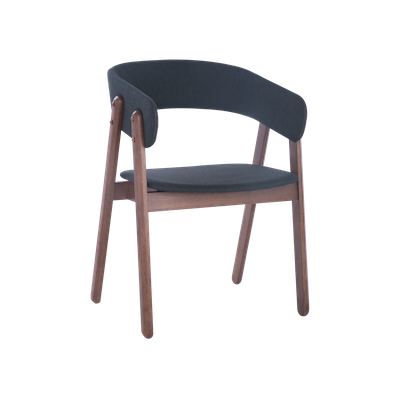 Venice Dining Chair with Cushioned Backrest - Walnut, Dark Grey (Set of 2) - Image 1