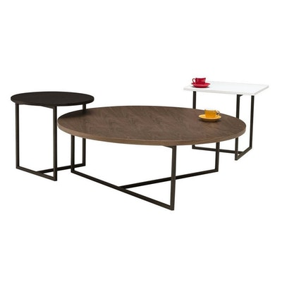 Felicity Round Coffee Table - Walnut, Matt Black - Image 2