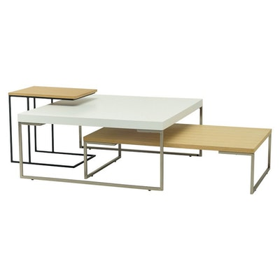 Myron Rectangular Coffee Table - White, Matt Black - Image 2