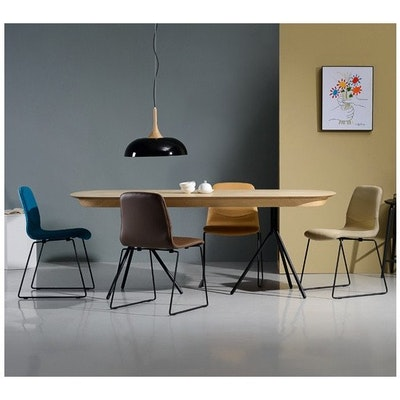 Otis Dining Table 2m - White Lacquered, Matt Black - Image 2