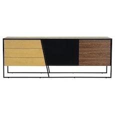 Oscar Sideboard - Walnut Veneer, Multicolour Veneer, Matt Black - Image 1