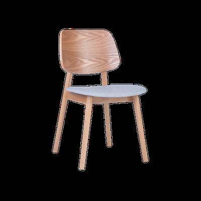 Riley Dining Chair - Oak, Light Grey (Set of 2) - Image 1