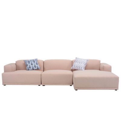 Flex 4 Seater L Shape Sofa - Right Facing Chaise Lounge - Champagne - Image 1
