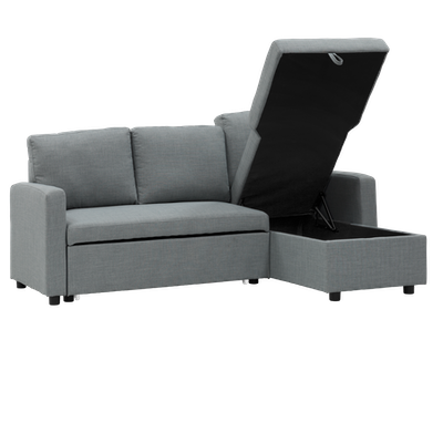 Mia L Shape Sofa Bed with Storage - Slate - Image 2