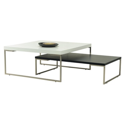 Micah Square Coffee Table - Black Ash, Matt Black - Image 2