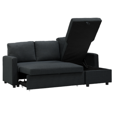 Mia L Shape Sofa Bed with Storage - Carbon - Image 2