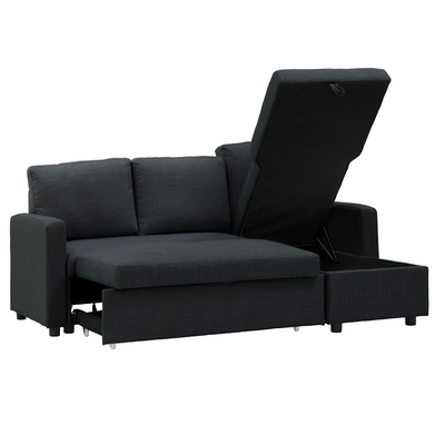 Mia L Shape Sofa Bed With Storage Carbon Image 2