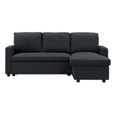 Mia L Shape Sofa Bed with Storage - Carbon - Image 1